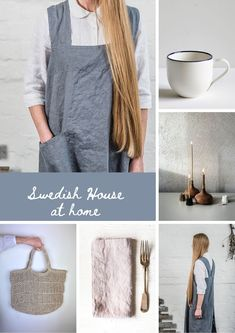 swedish house pinafore cross back japanese style linen aprons, jute bags, linen napkins, ceramics and wood by swedish house at home scandi interiors and gifts Linen Apron, Linen Napkins, Scandinavian Living, Scandinavian Design, Pinafore Apron, Local Craft Fairs, Sustainable Textiles, Ceramic Candle Holders, Swedish House