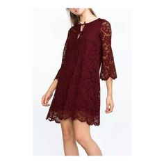 Yoins Floral Lace Dress (1,125 PHP) ❤ liked on Polyvore featuring dresses, red dress, floral dress, red long sleeve dress, long-sleeve mini dress and floral lace dress