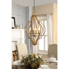 Shop for The Curated Nomad Gold Leaf Trellis Cage Chandelier. Get free delivery On EVERYTHING* Overstock - Your Online Kitchen & Bath Lighting Store! Get in rewards with Club O! Dining Room Light Fixtures, Dining Room Lighting, Kitchen Lighting, Pendant Chandelier, Chandelier Lighting, Chandeliers, Chandelier Ideas, Rustic Chandelier, Gold Pendant