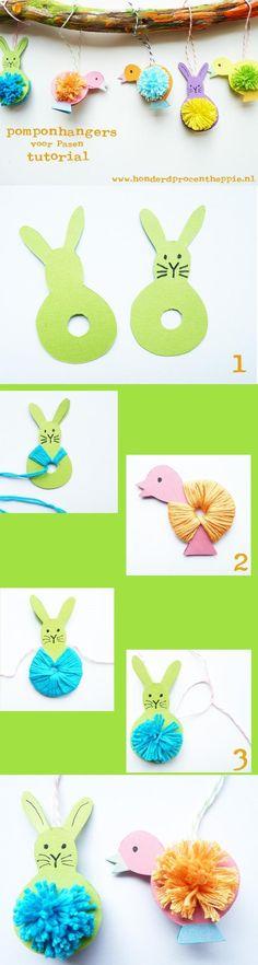 Easter Pom Poms Tutorial easter diy diy ideas easy diy kids crafts party ideas easter crafts easter craft easter decor crafts for kids easter gifts Spring Crafts, Holiday Crafts, Fun Crafts, Arts And Crafts, Preschool Crafts, Decor Crafts, Easter Art, Easter Bunny, Easter Decor