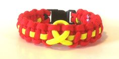 RED Friday Remember Everyone Deployed Red Parachute Paracord Bracelet with Yellow Ribbon