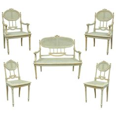 5 Piece French Louis XVI Style Distress Painted Parlor or Salon Suite 1