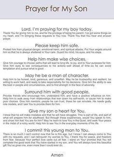 Prayer for son Mom Prayers, Answered Prayers, Bible Prayers, Prayers For Healing, Everyday Prayers, Catholic Prayers, Morning Prayers, Prayers For Kids, Prayers For My Husband