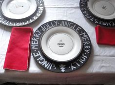 Sarah Gray blog on chalkboard chargers using Michaels chargers & chalkboard spray paint to created your own write-on dinnerware.