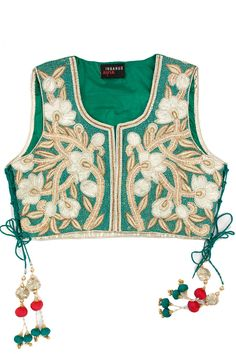 SURABHI ARYA Teal green embroidered short jacket available only at Pernia's Pop-Up Shop.