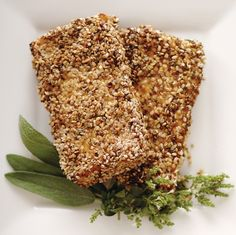 Slices of tofu are first bathed in a tangy marinade and then coated in a three-seed blend. Instead of being fried, these tofu cutlets are baked to perfection.