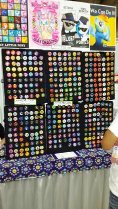 Pinback button display in vendor hall at Bronycon 2014, Baltimore, MD. My Little Pony Convention. I want to do this! Excellent display!! I don't remember the name of the booth, so I can't give credit properly.  But it is an amazing artist and Brony. :-)
