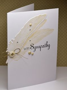 handmade Sympathy card from A Little Space of My Own ... clean and simple ... feathers stamped with die cut one on top ... cute button with linen thread bow ... triangle of enamel dots ... luv it!!