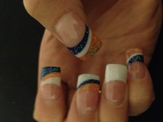 Got my nails done for the game! LET'S GO BRONCOS!! Denver Broncos Nails, Denver Football, How To Do Nails, Fun Nails, Football Nail Art, 4th Of July Nails, Nail Tips, Nail Ideas, Hair Skin Nails
