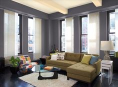 Elegant Urban Living Room Wall Color Tempest Ceiling Subtle