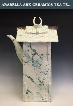 "ARABELLA ARK CERAMICS TEA TEMPLE. Large scale ornamental lidded vessel, white glaze with gold, green, and turquoise splashes 27""H x 17""W x 10""D."