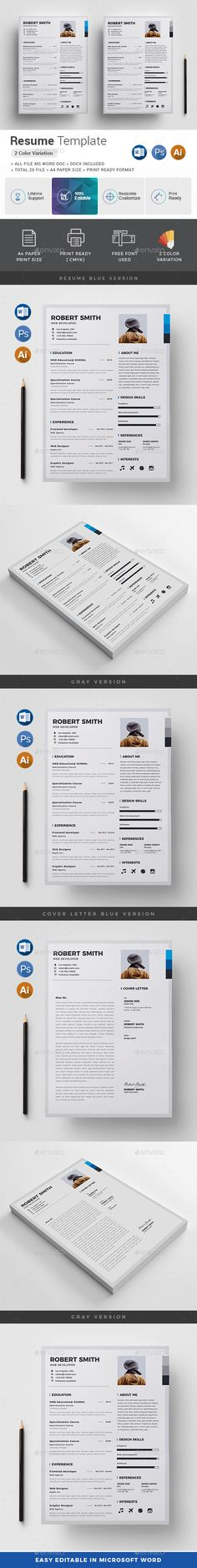 Resume  Ai Illustrator Resume Cv And Font Logo