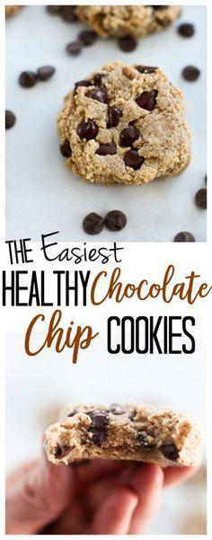 Healthy Chocolate chip Cookies recipe with almond flour #glutenfree #vegan #norefinedsugar #easy #healthy