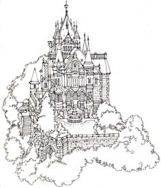 Abi Daker's Illustration Portfolio - Maps - Cityscapes - Line Drawing..this is what I call a dream house!