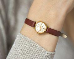 Gold plated women's wrist watch Chaika tiny watch by SovietEra, $62.00