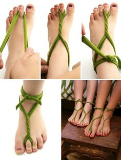 The Easy, 5 Minutes Barefoot Sandals - How to Make Barefoot Sandals – 3 Popula. The Easy, 5 Minutes Barefoot Sandals - How to Make Barefoot Sandals – 3 Popular Styles - EverAfterGuide craft Tinkerbell Fairies, Tinkerbell Party, Tinkerbell Shoes, Tangled Party, Estilo Popular, Fairy Birthday Party, Birthday Boys, Birthday Ideas, Diy Accessoires