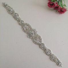 2016 New Crystal and Rhinestone Beaded Applique Bridal Belt Wedding Sash  #Handmade