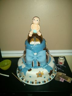 Beer and diapers baby shower cake