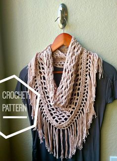 Make this quintessential boho crochet fringe scarf with a beginner-intermediate, step by step (with pictures!) pattern.  Youll love the stylish triangle shape, intricate mesh and festive fringe!  Use your favorite worsted weight cotton yarn and a size J (6mm) crochet hook. When you purchase this pattern you get a downloadable PDF file containing:  -required materials, finished project stats and photos -a step by step picture tutorial on how to create the mesh center, border and fringe seen…