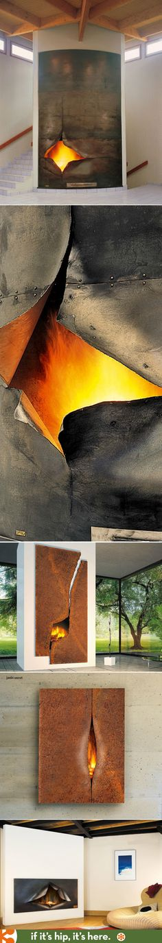Sculptural 'torn metal' fireplaces by Focus.