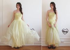 sheer mid century wedding dress in yellow by DOTTO