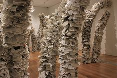 Wendy Wahl, who creates installation art pieces using recycled encyclopedias, world books, and dictionaries.