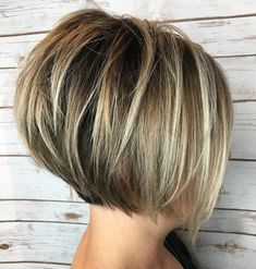 Short Layered Bob With Blonde Highlights