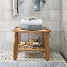Spa Teak Shower Bench with Shelf (I love the tile!)