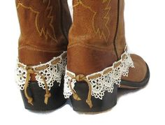 LEATHER AND LACE boot cuff bracelet studs by feathers2gether
