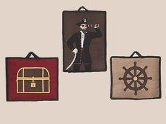 Pirate Fabric Wall Hangings for Boys - 3pc Set #kidsroomstore $24.99