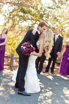 Backyard Santa Barbara Wedding by NLC Productions Wedding Couples, Wedding Bride, Our Wedding, Wedding Dresses, Wedding Ideas, Purple Wedding Flowers, Floral Wedding, Green And Purple, Deep Purple