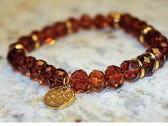 a unique gold and chocolate bracelet/bransoletka pozłacana koraliki gold brązowa
