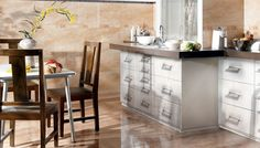 Make your small #kitchen look roomy with our #porcelanic #tiles