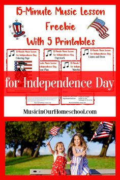 15-Minute Music Lesson for Independence Day with free printable pack - Music in Our Homeschool Preschool Music, Teaching Music, American Patriotic Songs, American Words, Online Music Lessons, Music Lesson Plans, Violin Lessons, Music Theory, Music Education