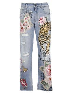 Dolce & Gabbana Tiger Patch Denim Jeans In Blue Jean Rapiécé, Jean Diy, Dolce And Gabbana Jeans, Dolce & Gabbana, Diy Jeans, Embellished Jeans, Embroidered Jeans, Patch Jeans, Painted Jeans