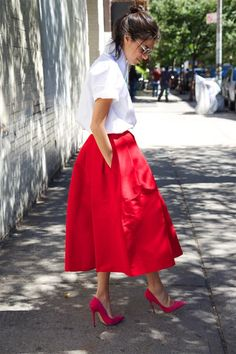 Test Driving This Season's Full Skirt | Man Repeller...too much poof will appear dumpy, but I love the length/pockets.