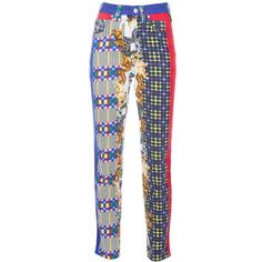 RESERVED GIANNI VERSACE Vintage Multicolored Jeans with Dog Print ($1,035) ❤ liked on Polyvore featuring jeans, highwaist jeans, vintage high waisted jeans, print jeans, versace jeans and high-waisted jeans