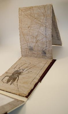 Ungoliant's Task by Jenna Marie David. Handmade Accordion Book. Hand Stitching, Screenprinting, and Transfer on Dryer Sheets, Stonehenge Paper, and Linen Fabrics.  - See our newest fine arts workshops available at Cullowhee Mountain Arts this summer! http://www.cullowheemountainarts.org