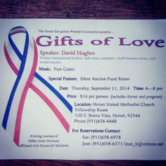 Don't miss out on the Silent Auction Fund Raiser including dinner and a program at the Hemet United Methodist Church,  Thursday,  September 11th, 2014. $16 per person. Contact Sue at (951) 658-6978 or Jean at (951) 658-6371 for reservations. Music by Pam Cutter and David Hughes as speaker. 530 S. Buena Vista, Hemet, 92544 Phone:(951) 658-4448 #thebiblebookstore2011 #hemet #sanjacinto #temecula #california #revival #faith #prayer #socal #itsnoteasybutitssimple #thinklocal #buylocal #belocal…