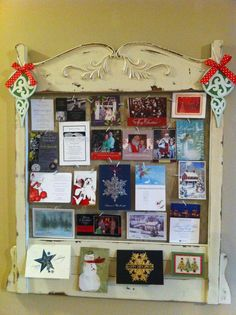 Christmas Card Display on an old headboard