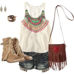 Summer concert outfit:D I have everything except the purse :) shorts to short but love it I Love Fashion, Passion For Fashion, Womens Fashion, Concert Fashion, Concert Outfits, Summer Outfits, Cute Outfits, Summer Clothes, Boho