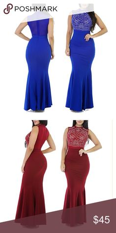 Long Fitted Sleeveless Mermaid Evening Gown Dress S M L XL note it when you order. Dresses Prom