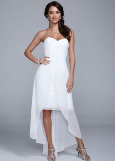High Low Chiffon Dress with Split Front Detail - David's Bridal