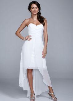High Low Chiffon Dress with Split Front Detail - David's Bridal