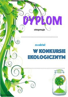 Dyplom za udział w konkursie ekologicznym Educational Activities, Techno, Art For Kids, Diy And Crafts, School, Speech Language Therapy, Poster, Art For Toddlers, Art Kids