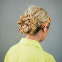 This double fishtail bun is a fun spin on a more traditional updo.