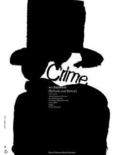 """Hans Hillmann, """"Crime"""" poster artwork, 1962. RIME ET CHÂTIMENT,  Pierre Chenal, 1935."""