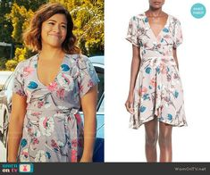 Jane's floral wrap dress on Jane the Virgin.  Outfit Details: https://wornontv.net/68265/ #JanetheVirgin