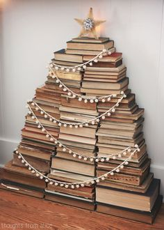 Thoughts from Alice: Holiday Home Tour 2014 - Vintage Stacked Book Christmas Tree in Mantel