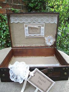 Wooden Suitcase Vintage Wedding Card Holder Post Box